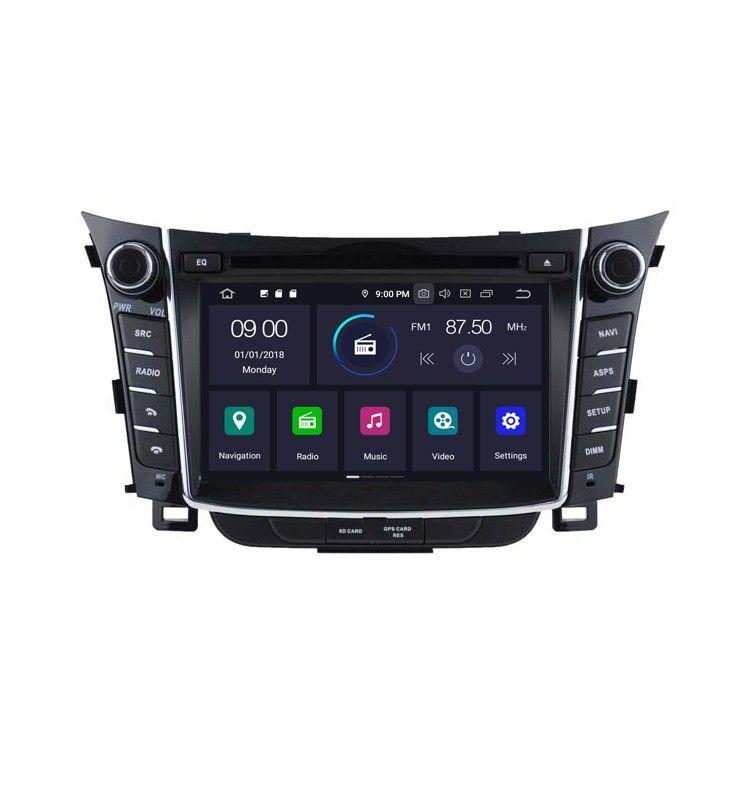 Autoradio Android 9.0 GPS Bluetooth Multimédia intégré Hyundai i30 depuis 2012