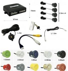 Affichage vidéo caméra arrière + 4 radars arrière (plusieurs couleurs)