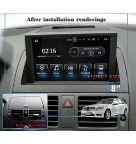 Autoradio Android 7.1 GPS Bluetooth Multimédia intégré Mercedes Classe C W204 de 2007 à 2011
